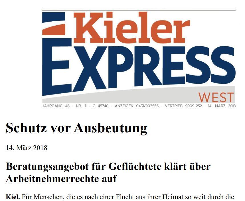 Beratung zum Schutz vor Ausbeutung – Pressemeldung im Kieler Express vom 14.03.2018