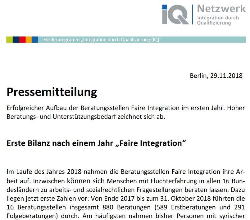 """Pressemeldung: Erste Bilanz nach einem Jahr """"Faire Integration"""": Hoher Bedarf an arbeits- und sozialrechtlicher Beratung von Geflüchteten"""