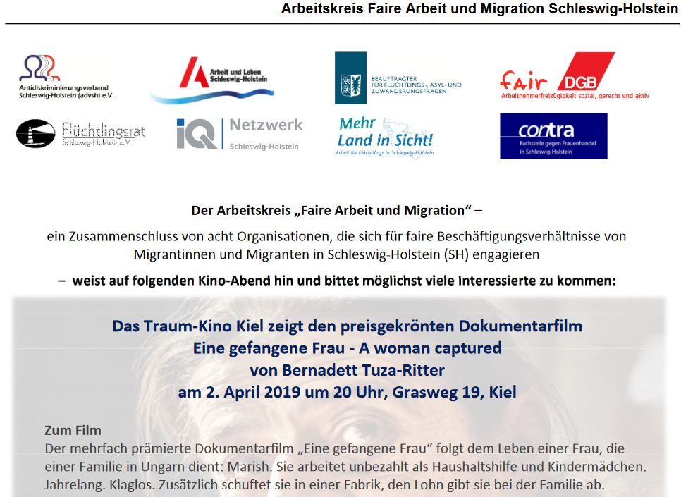 """Arbeitskreis Faire Arbeit und Migration Schleswig-Holstein zeigt am 02.04.2019 den Dokumentarfilm """"Eine gefangene Frau"""" im Traum-Kino Kiel"""