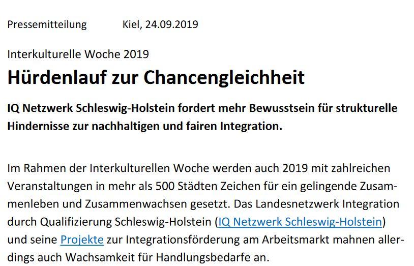 IQ Netzwerk Schleswig-Holstein zur Interkulturellen Woche 2019: Hürdenlauf zur Chancengleichheit