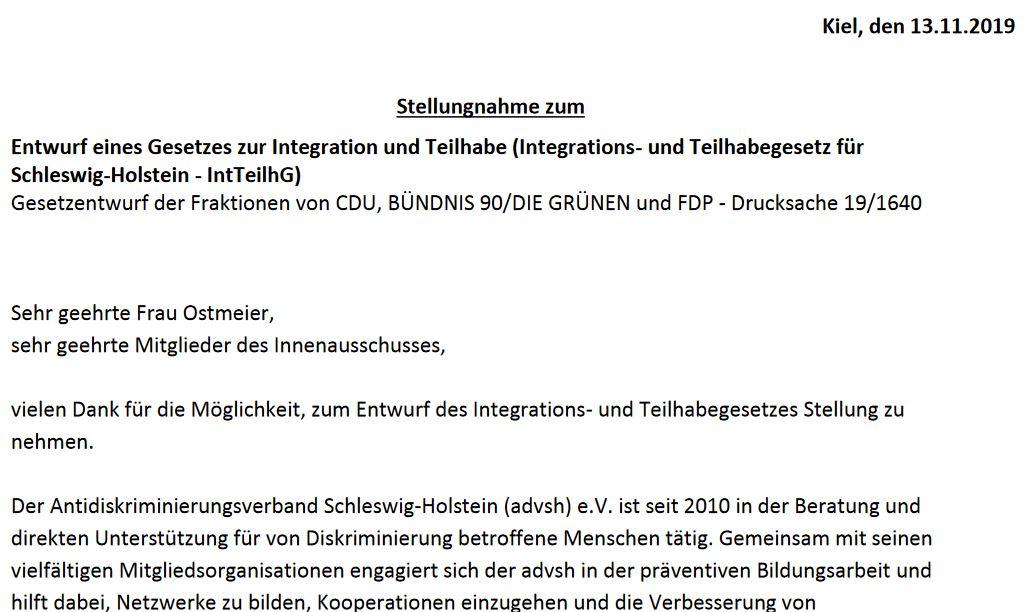 Stellungnahme des advsh zum Entwurf eines Gesetzes zur Integration und Teilhabe (Integrations- und Teilhabegesetz für Schleswig-Holstein – IntTeilhG)