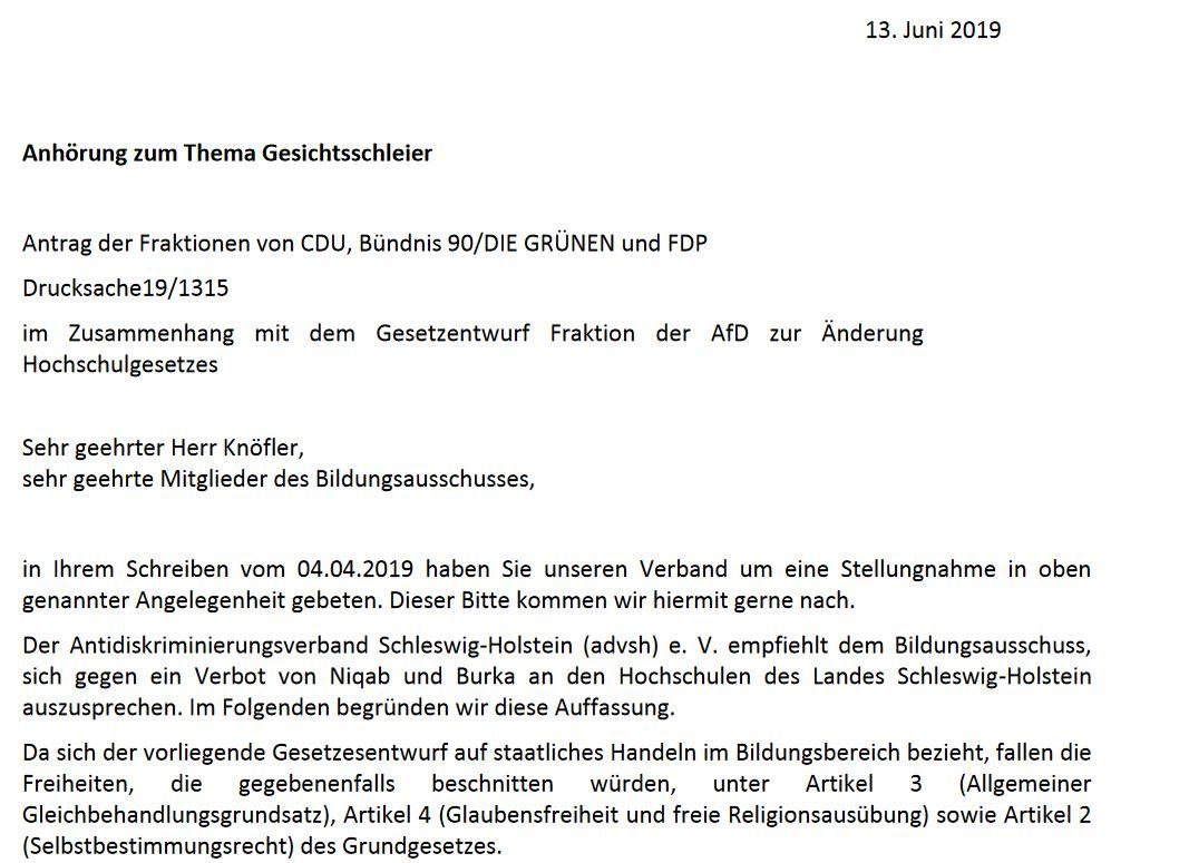 """Stellungnahme des advsh zur Anfrage des Landtages Schleswig-Holstein zum Thema """"Umgang mit Gesichtsschleiern in Lehrveranstaltungen""""."""