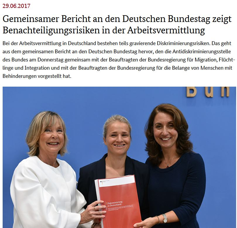 Pressemeldung: Erhebung zu Diskriminierung in Deutschland – Gemeinsamer Bericht an den Deutschen Bundestag zeigt Benachteiligungsrisiken in der Arbeitsvermittlung